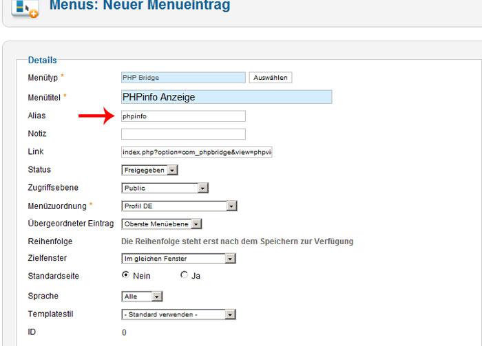 PHP Bridge phpinfo als Alias eintragen